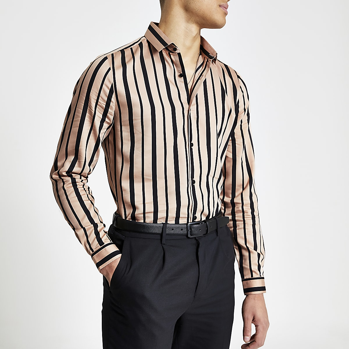 Pink black stripe slim fit long sleeve shirt