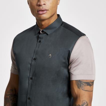 Blue colour blocked slim fit shirt