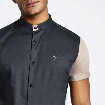 Blue stand collar colour block slim fit shirt