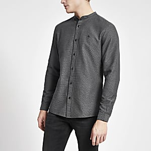 Grey textured grandad collar slim fit shirt