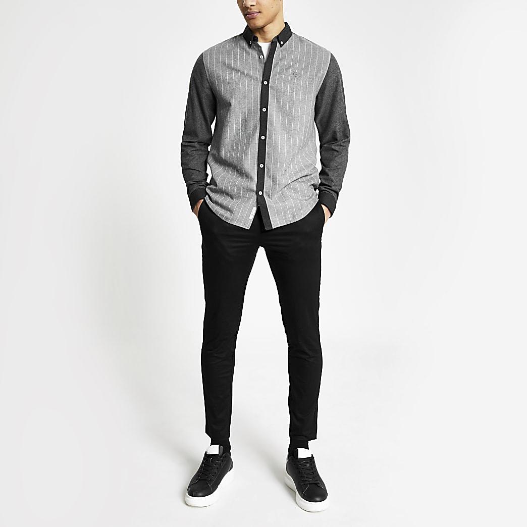 Graues Nadelstreifenhemd im Regular Fit mit Colour-Block