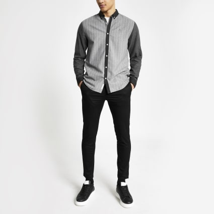 Grey pinstripe colour block regular fit shirt