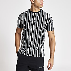 Maison Riviera - Wit gestreept slim-fit T-shirt