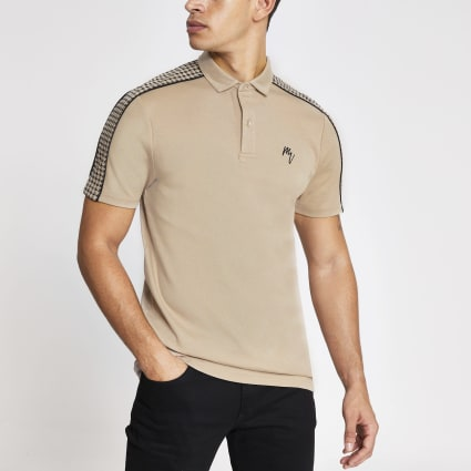 Brown dogtooth tape slim fit polo shirt