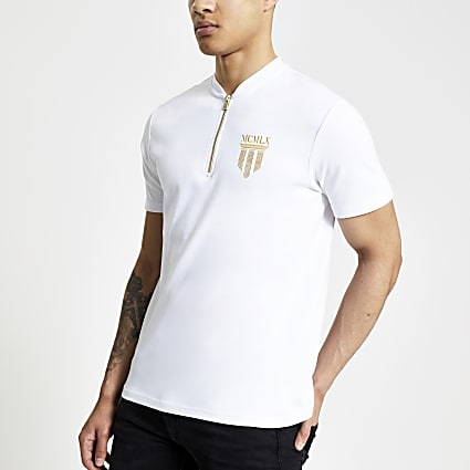 White slim fit MCMLX baseball neck polo shirt