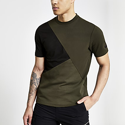 Khaki slim fit asymmetric blocked T-shirt