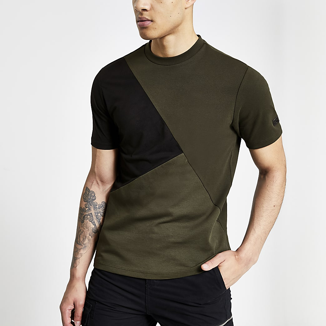 Khaki slim fit asymmetric blocked T-shirt