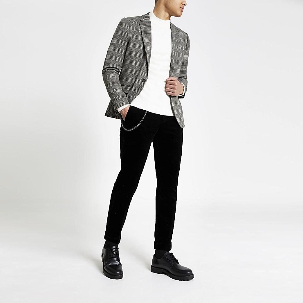 Bruine vintage geruite skinny-fit blazer