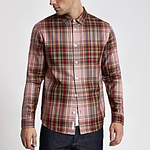 Chemise classique rouge à carreaux à manches longues