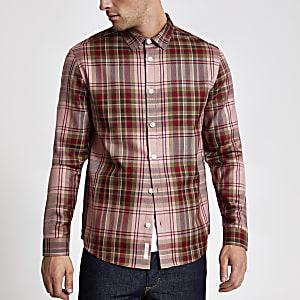 Rood geruit regular-fit overhemd met lange mouwen