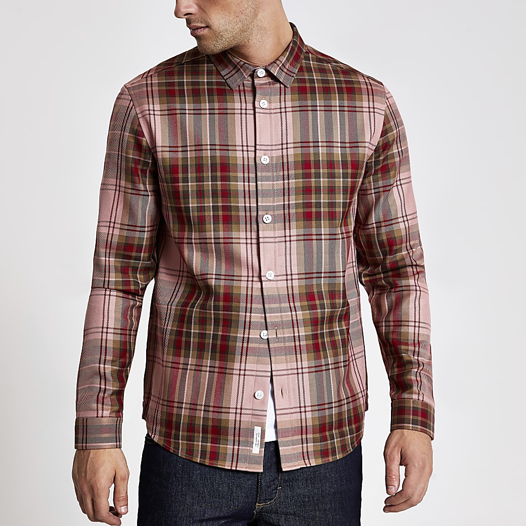 Red check long sleeve regular fit shirt