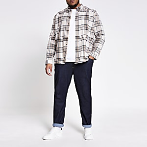 Big & Tall – Langärmeliges Hemd in Ecru mit Karomuster