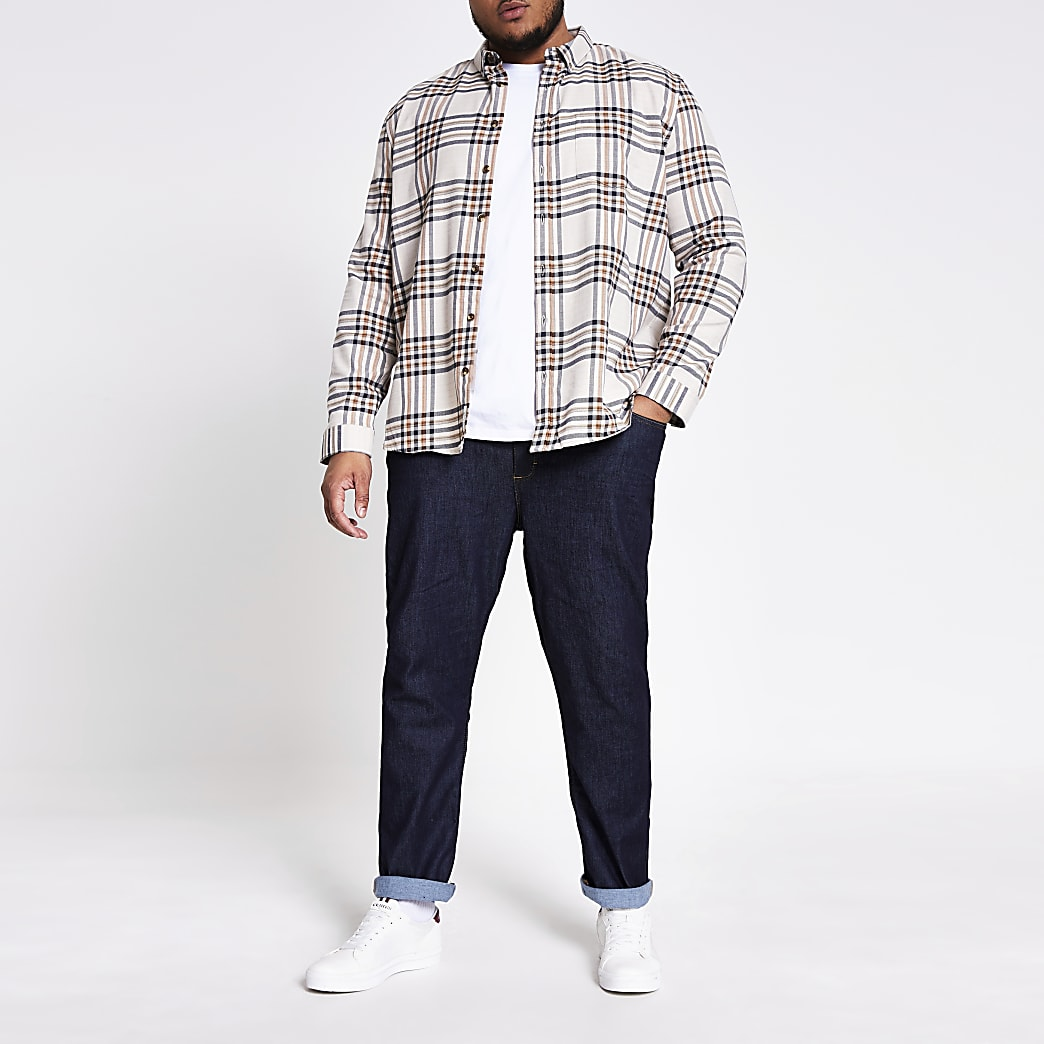 Ecru check long sleeve Big and Tall shirt