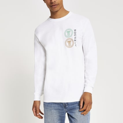 White 'Nouveau' slim fit long sleeve T-shirt