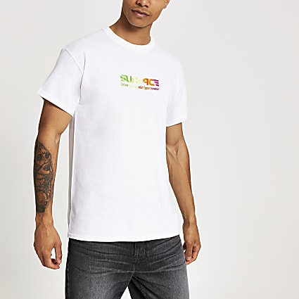 White 'Surface' embroidery slim fit T-shirt