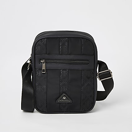 Black MCMLX zip front cross body bag