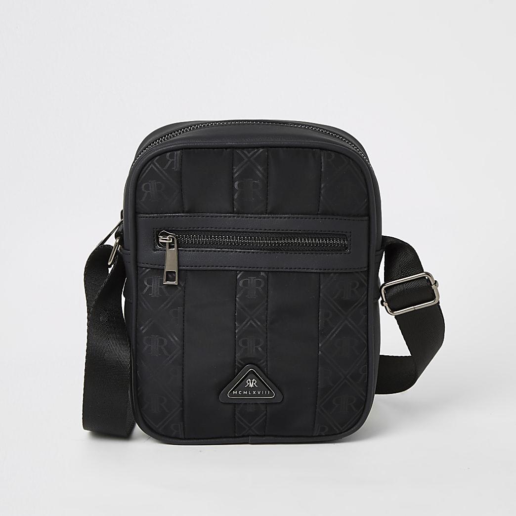 Black MCMLX zip front cross body bag