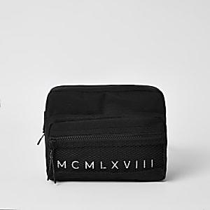 MCMLX – Schwarze Umhängetasche mit Mesh-Einsatz