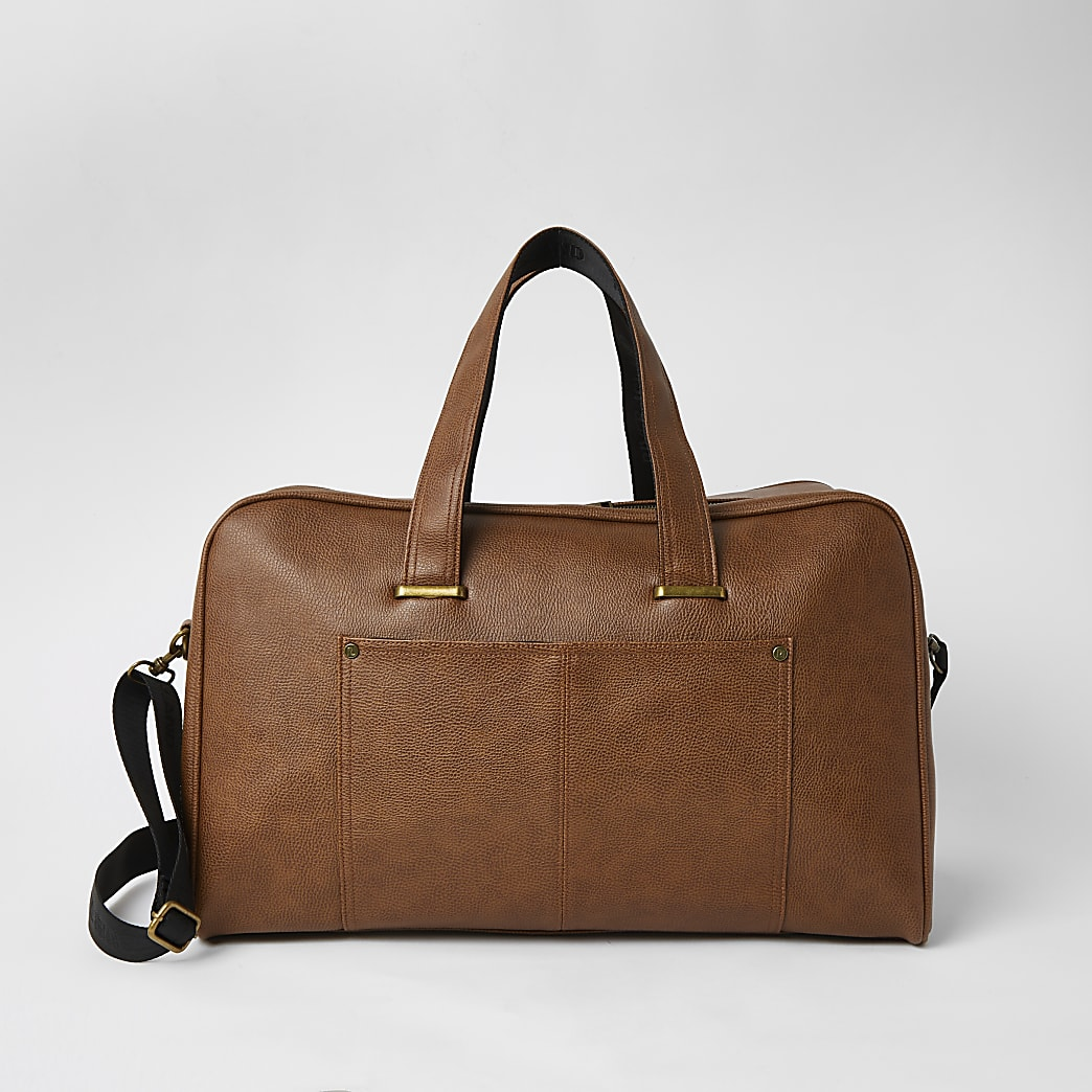 Brown textured pocket front weekend holdall