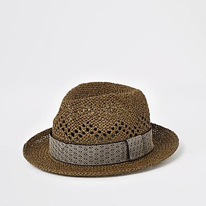 Brown geo tape straw trilby hat