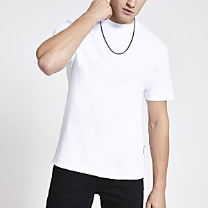 Wit slim-fit T-shirt met korte mouwen