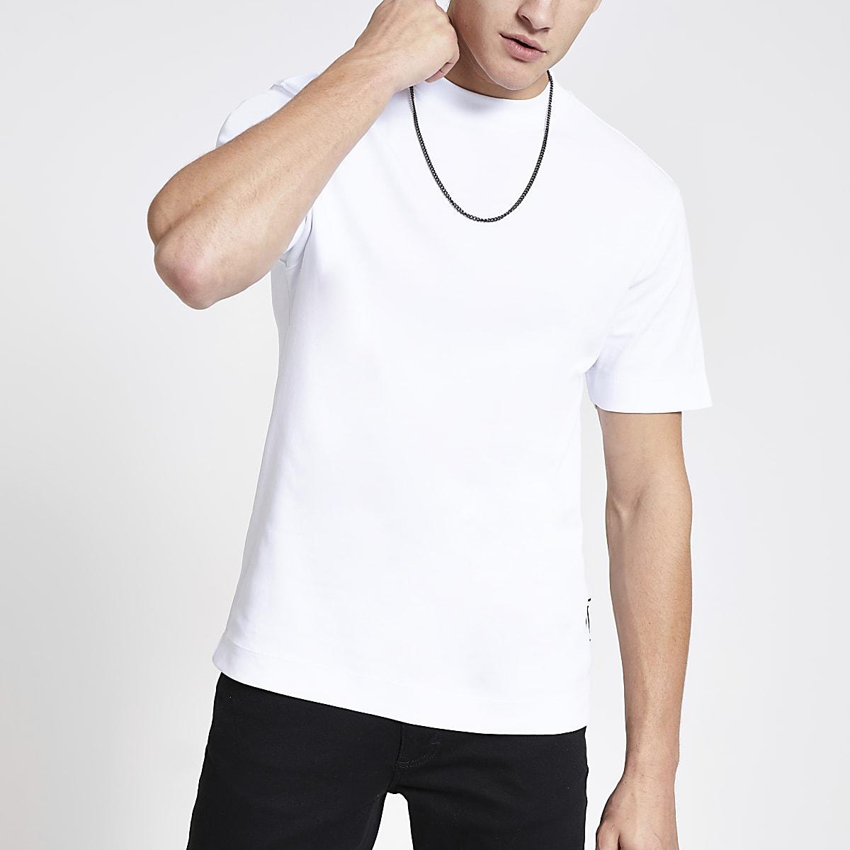 White slim fit short sleeve T-shirt