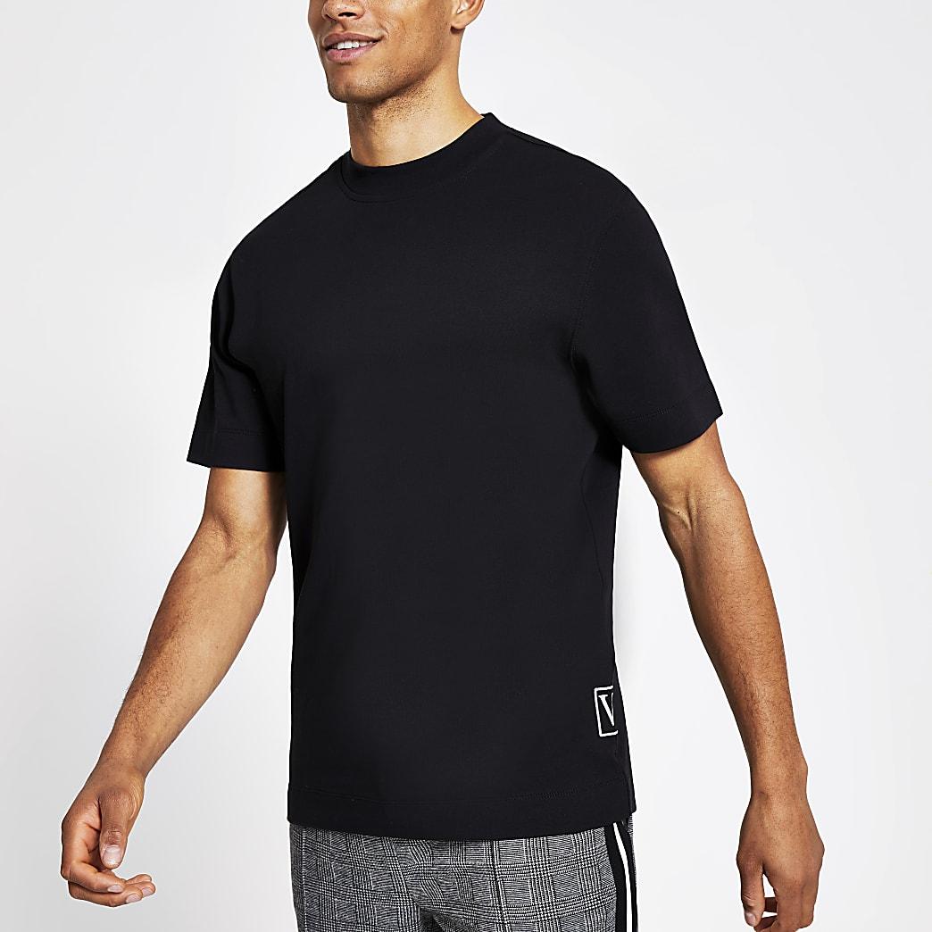 Zwart slim-fit T-shirt met korte mouwen