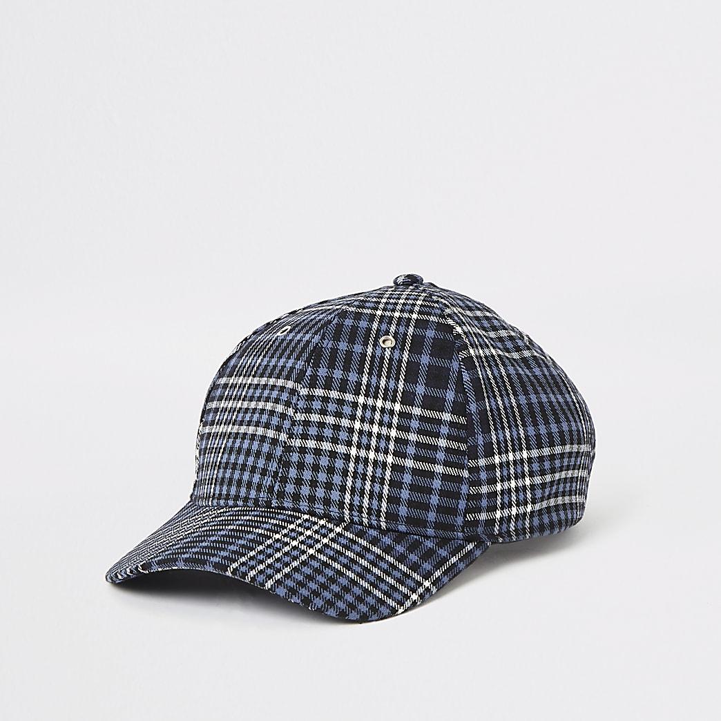 Navy check baseball cap