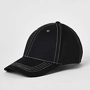 Black contrast stitch cap