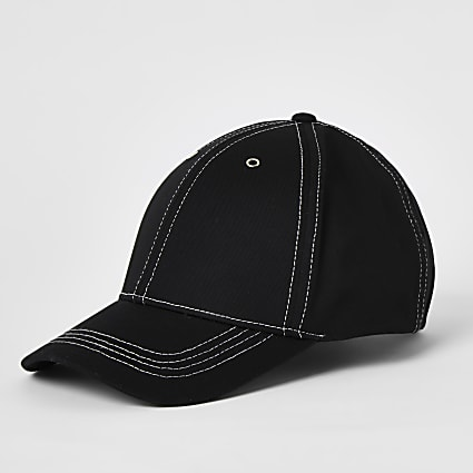 Black contrast stitch cap