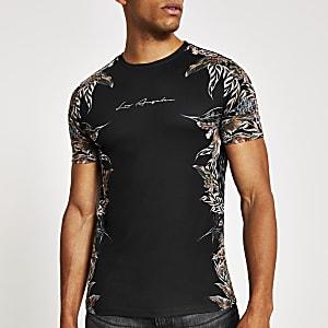 Schwarzes Slim Fit T-Shirt mit Feder-Print an den Seiten