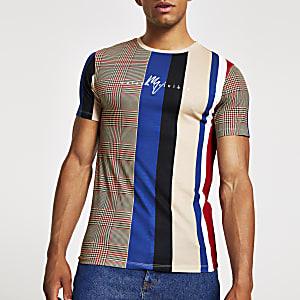 Muscle Fit T-Shirt mit Blockkaros in Steingrau
