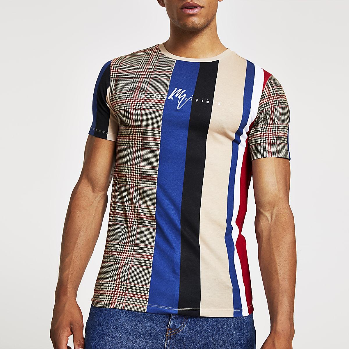 T-shirt ajusté grège à carreaux contrastants