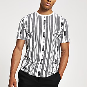 Wit gestreept slim-fit T-shirt met Maison Riviera-print