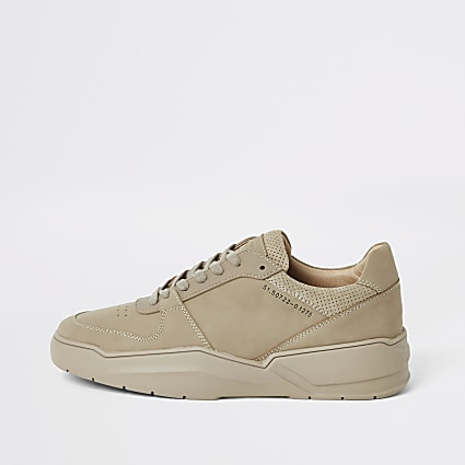 Stone chunky sole lace-up trainers