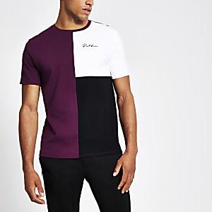 Prolific - Paars slim-fit T-shirt met kleurvlakken