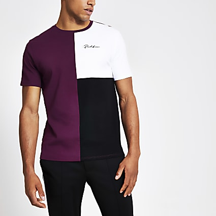 Prolific purple colour block slim fit T-shirt