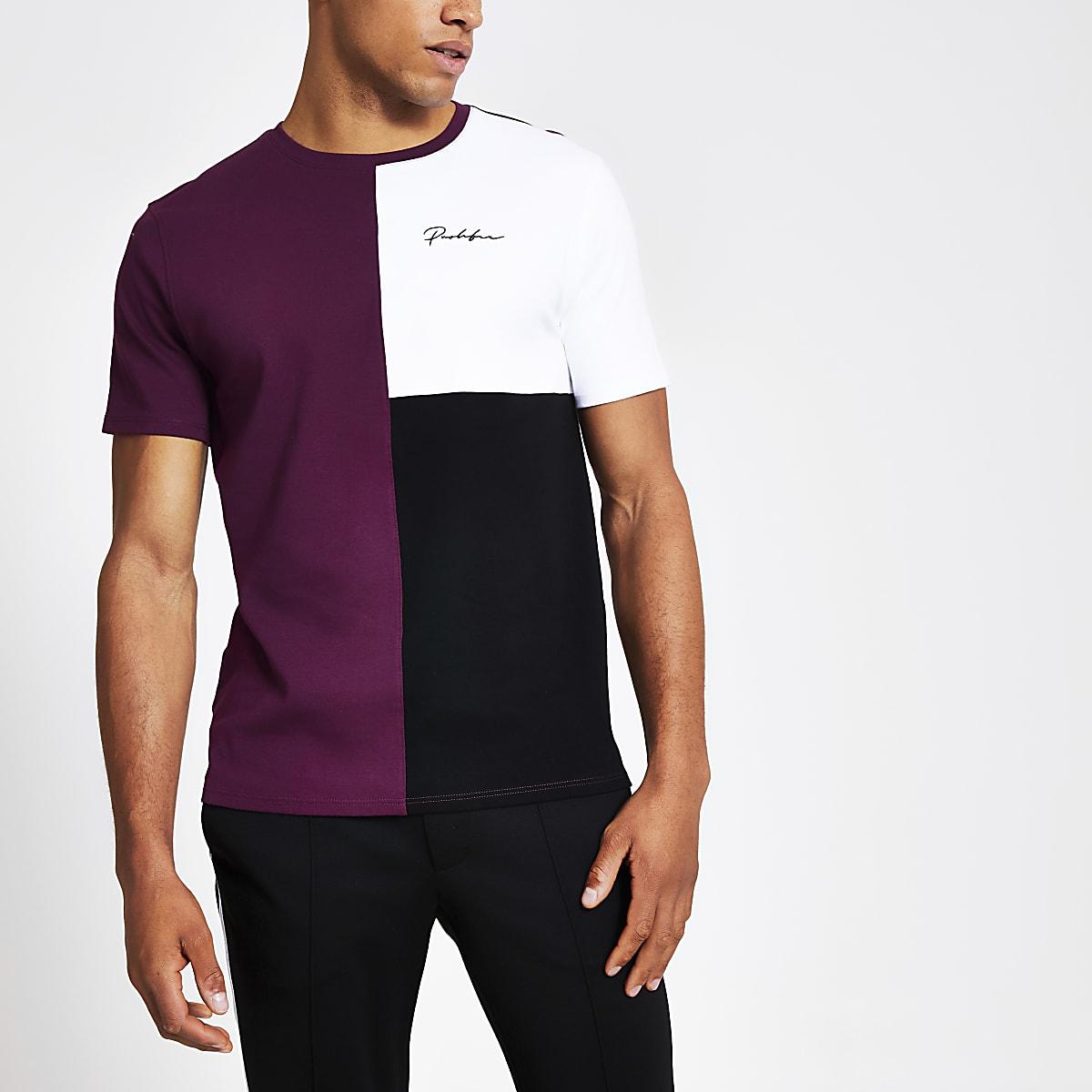 Prolific purple colour block slim fit T-shirt