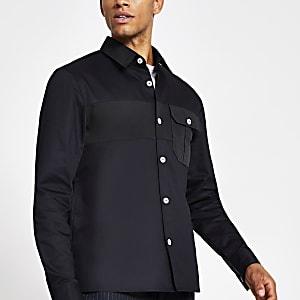 Marineblauw overhemd met standaard pasvorm en nylon vlakken
