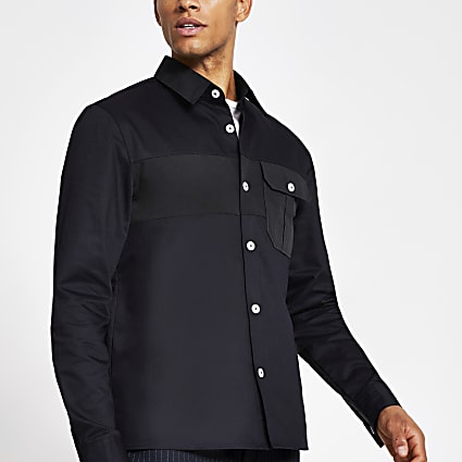 Navy nylon panel regular fit shirt