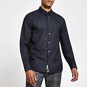 Marineblauw getextureerd overhemd met lange mouwen en standaard pasvorm