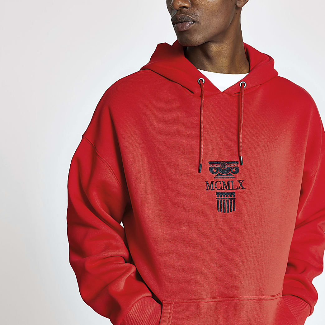Red 'MCMLX' embroidered oversized hoodie