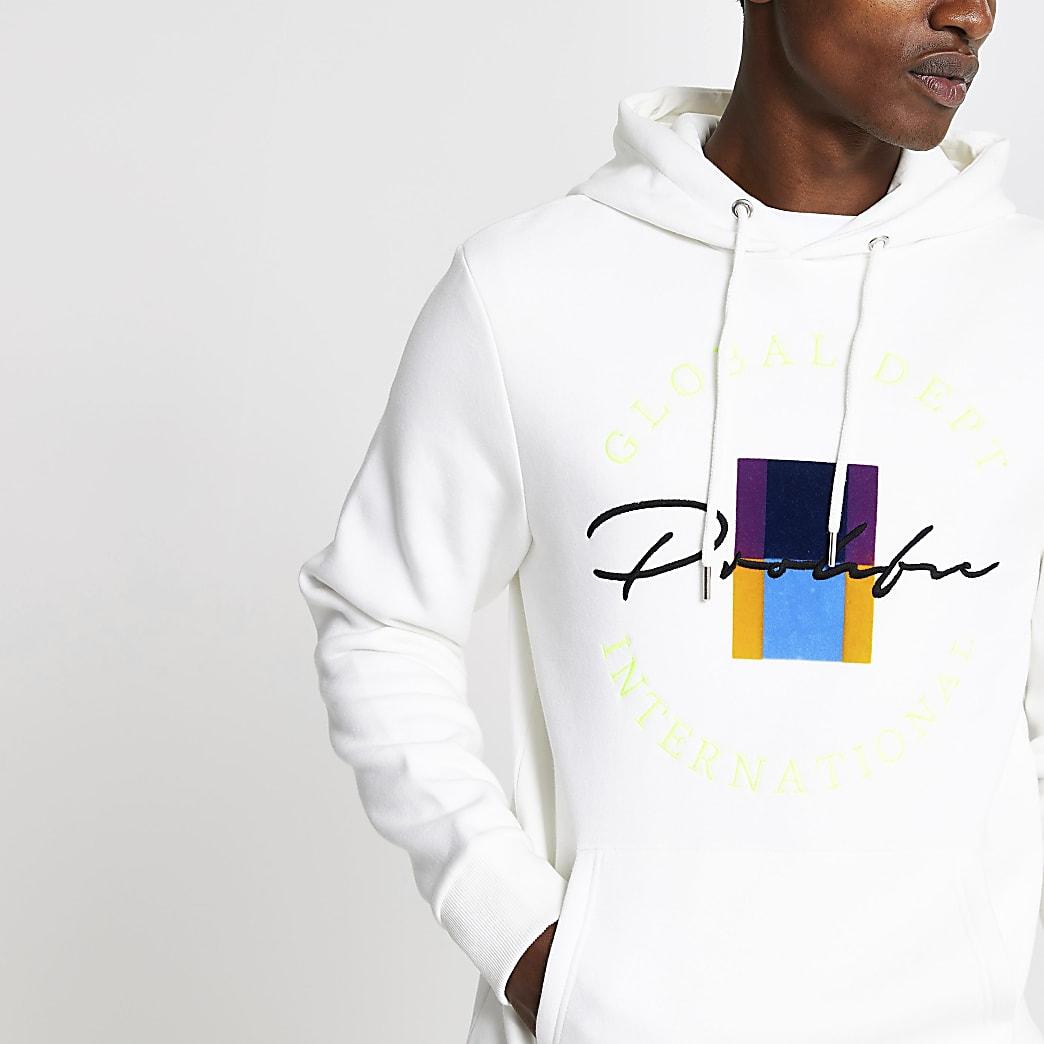 Prolific - Witte geborduurde slim-fit hoodie
