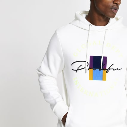 White Prolific crest embroidered slim hoodie