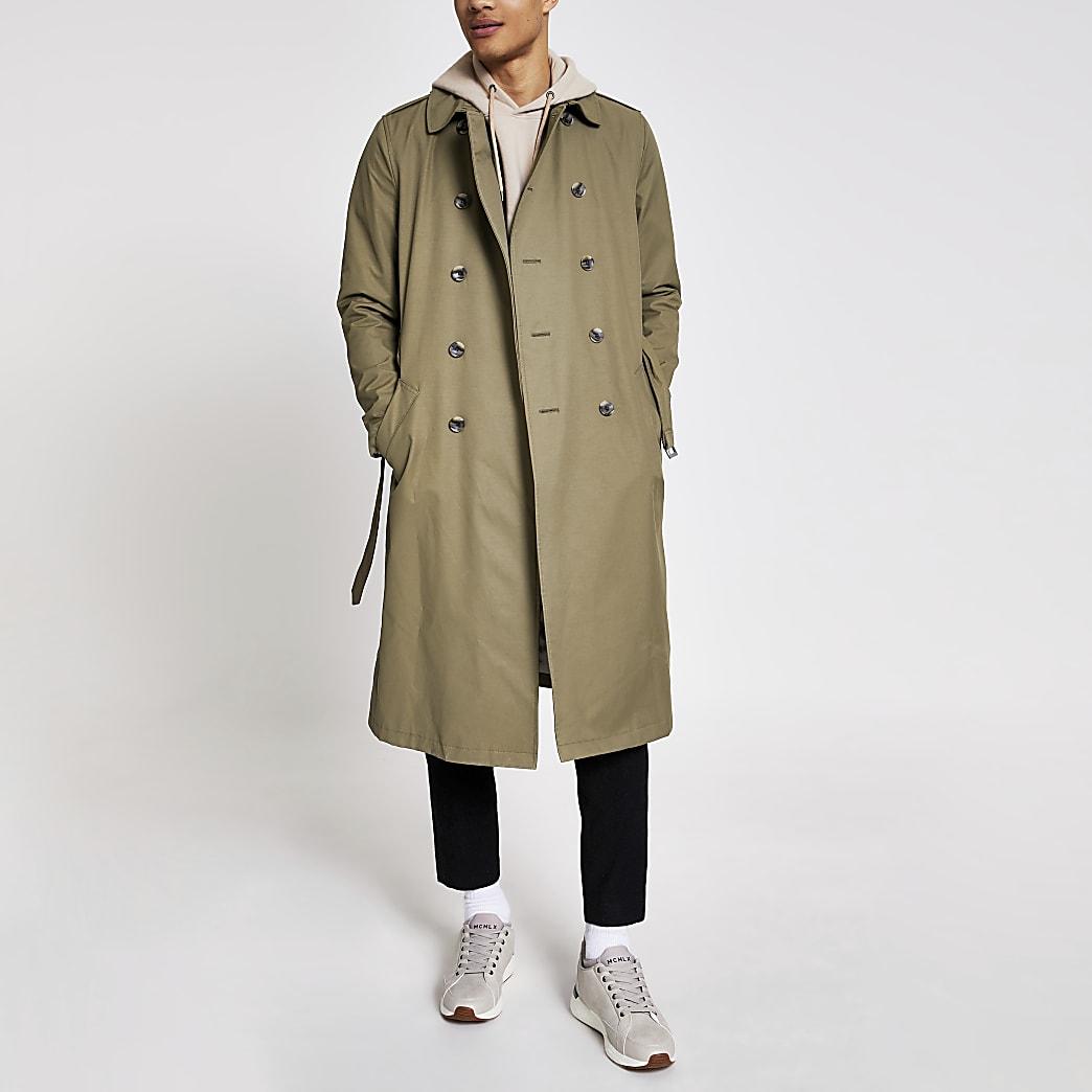 Khaki water resistant longline trench coat