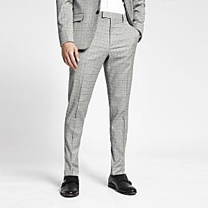 Pantalon slim à carreaux gris