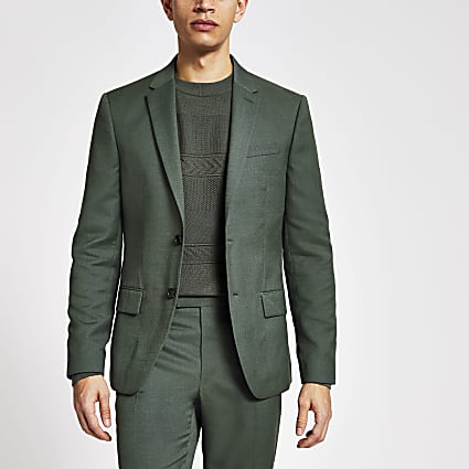 Green linen skinny fit suit jacket