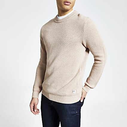 Light pink slim fit knitted jumper