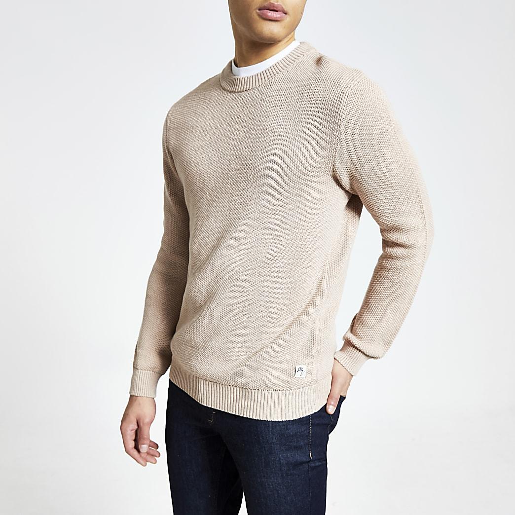 Lichtroze gebreide slim-fit trui