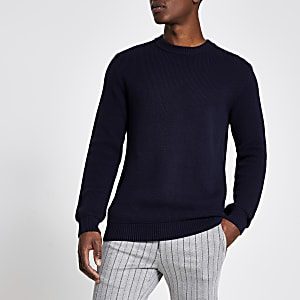 Navy slim fit knitted jumper